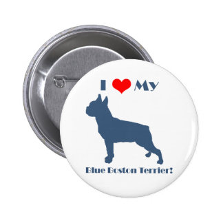 Love My Blue Boston Terrier Pinback Button