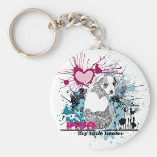 Love My Blue Heeler Basic Round Button Keychain