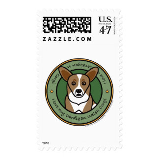 Love My Cardigan Corgi Postage Stamp