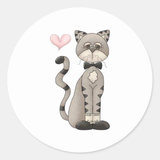 Love My Cat Classic Round Sticker