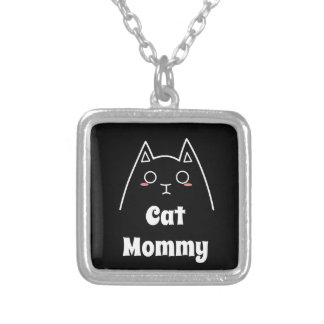 Love My Cat Mommy Silver Plated Necklace