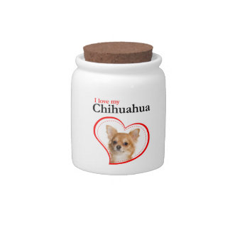 Love My Chihuahua Treat Jar Candy Dishes