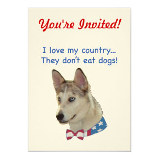 Love My Country Ausky Dogs 5x7 Paper Invitation Card