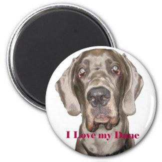 Love My Dane 2 Inch Round Magnet