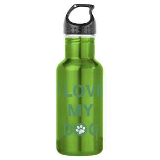 Love My Dog (green) Stainless Steel Water Bottle