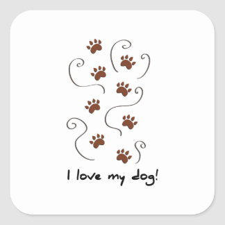 Love My Dog Square Stickers