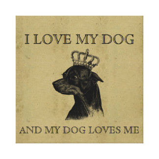 Love my dog vintage chihuahua graphic cute picture canvas print
