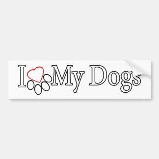 Love My Dogs Black Outline on White Bumper Sticker