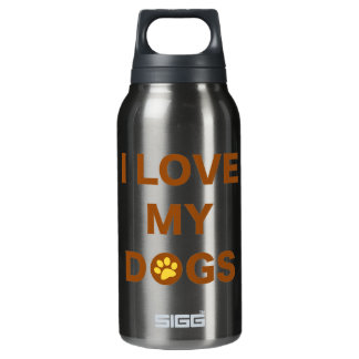 Love My Dogs (brown) Insulated Water Bottle