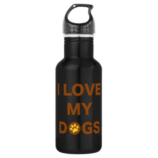 Love My Dogs (brown) Stainless Steel Water Bottle