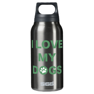 Love My Dogs (green) Insulated Water Bottle