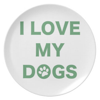 Love My Dogs (green) Plate
