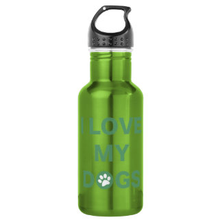 Love My Dogs (green) Stainless Steel Water Bottle