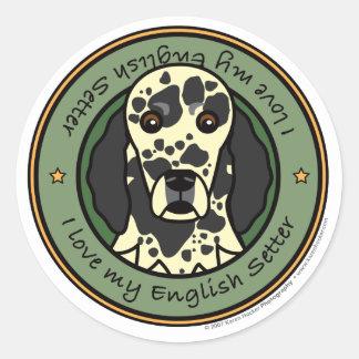 Love My English Setter Classic Round Sticker