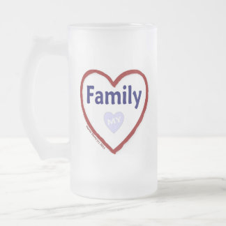 Love My Family Frosted Glass Beer Mug
