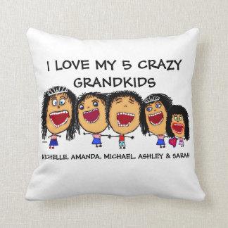Love My Five Grandchildren Cartoon Throw Pillow