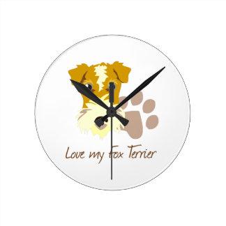 Love my Fox Terrier Round Wall Clocks