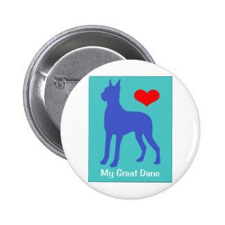 Love My Great Dane 2 Inch Round Button