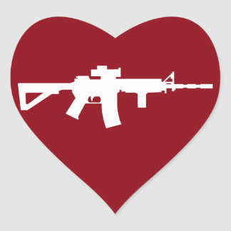 Love My Guns Heart Sticker