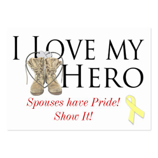 love my hero, shoe yellow ribbon, Spouses have ... Large Business Cards (Pack Of 100)