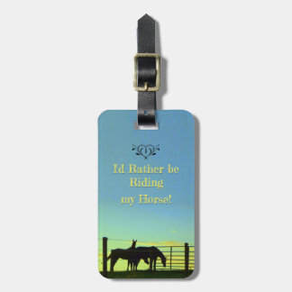 Love my Horse! Riding. Sunsets. Personalize Luggage Tag