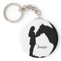 Love my Horse Silhouette Girl Horses Keychain