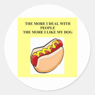 love my hot dog classic round sticker