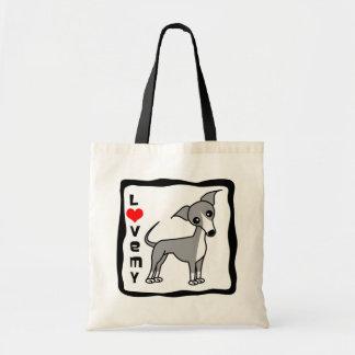 Love My Italian Greyhound - Grey Bag