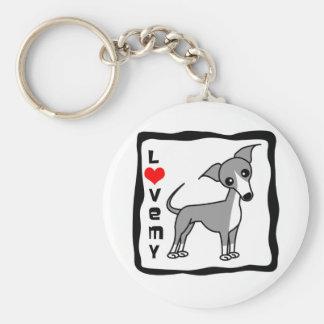 Love My Italian Greyhound - Grey Keychain