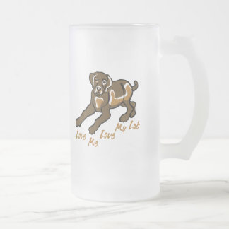 Love My Lab Frosted Glass Beer Mug