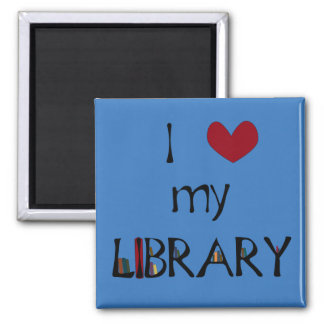 Love My Library - Change Color 2 Inch Square Magnet