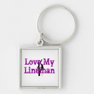Love My Lineman Keychain-Purple