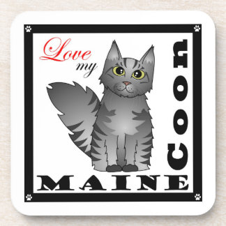 Love My Maine Coon Cat - Grey Tabby Drink Coaster