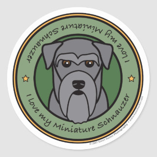 Love My Miniature Schnauzer Classic Round Sticker