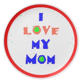 Love My Mom Melamine Plate