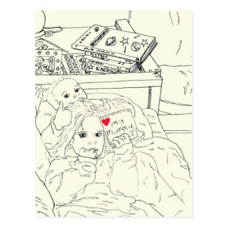 Love my Mummy cute novelty art postcard