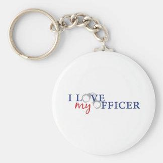 Love My Officer Basic Round Button Keychain