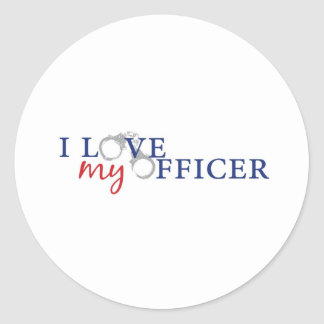 love my officercuffs classic round sticker