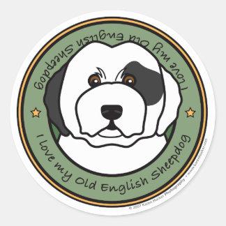 Love My Old English Sheepdog Classic Round Sticker