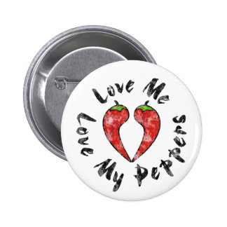 Love My Peppers Pinback Button