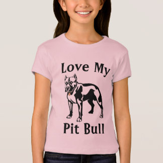 Love My Pit Bull  Girls Baby Doll Fitted Tee Shirt