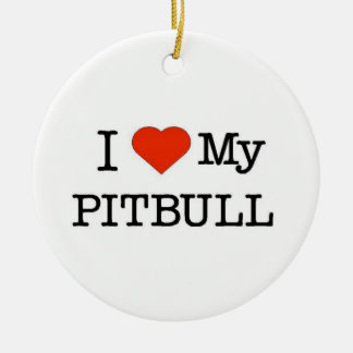 Love My Pitbull Ceramic Ornament