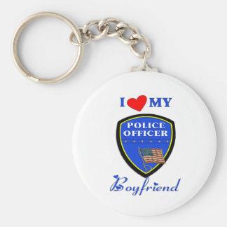 Love My Police Boyfriend Basic Round Button Keychain