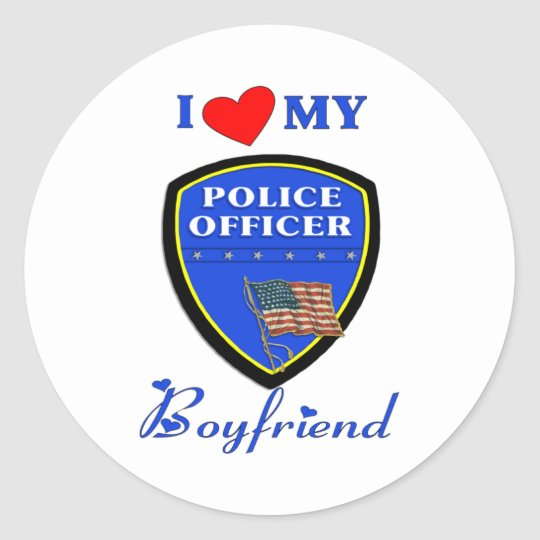 Love My Police Boyfriend Classic Round Sticker