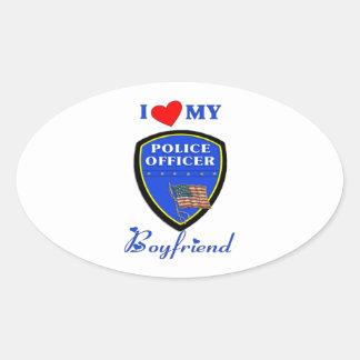 Love My Police Boyfriend Oval Sticker