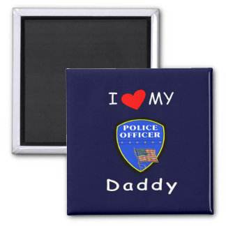 Love My Police Daddy 2 Inch Square Magnet