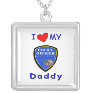 Love My Police Daddy Silver Plated Necklace