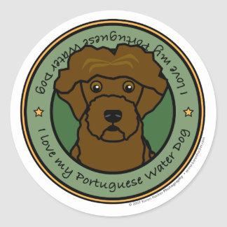 Love My Portuguese Water Dog Classic Round Sticker