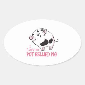 LOVE MY POT BELLIED PIG OVAL STICKER
