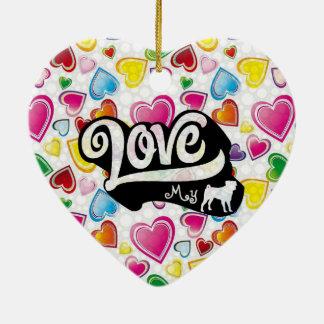 Love My Pug Double-Sided Heart Ceramic Christmas Ornament